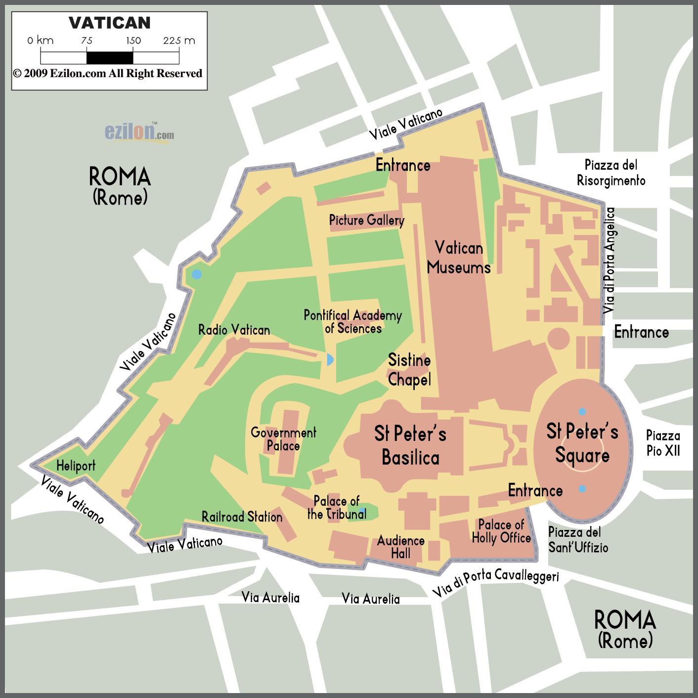Vatikanet Indgang Kort Kort Over Vatikanet Indgang Sydlige