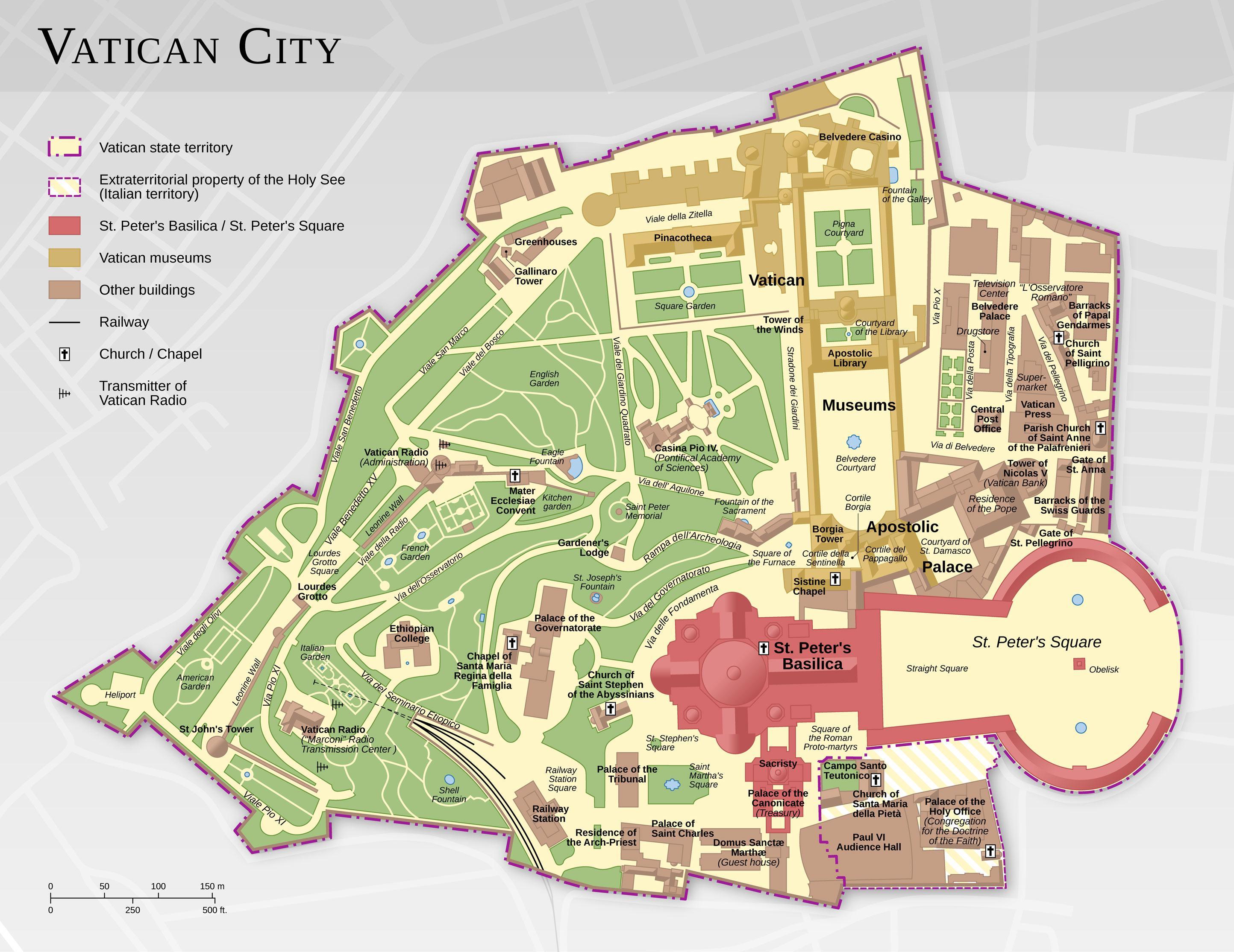 Vatikanet Kort Kort Over Vatikanet Det Sydlige Europa Europa